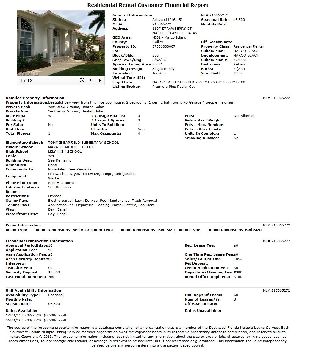 Residential Rental Customer Financial Report MARCO ISLAND SEASONAL RENTAL 1197 STRAWBERRY CT
